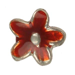 MEBE2-2 enamelled metal flower - red