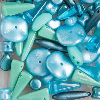 GPBS-4 pressed glass bead special mixes - turquoise