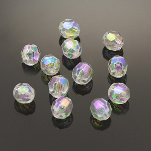PB4-1 - faceted round beads - AB Crystal