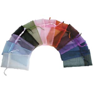 S172 12 organza bags -  assorted colours