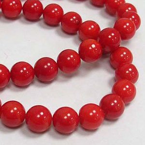 SP-COR08 Coral Beads, round - dark red