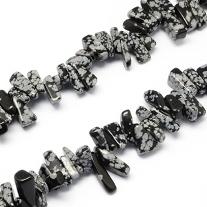 SP-SNN20 Snowflake Obsidian Nugget Beads